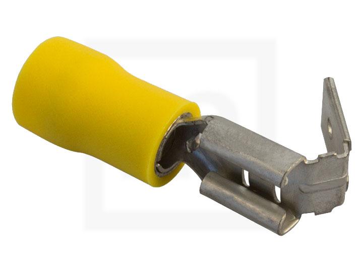 Flachsteckhülsen mit Abzweig, 2,5 - 6,0 mm² 6,3 mm gelb, 100 Stück