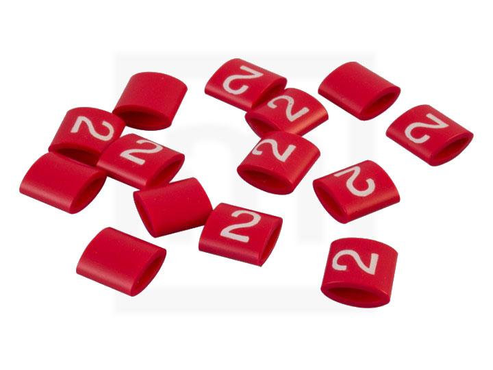 Bezeichnungsringe, 2,3 - 3,4 mm rot, 100 Stück