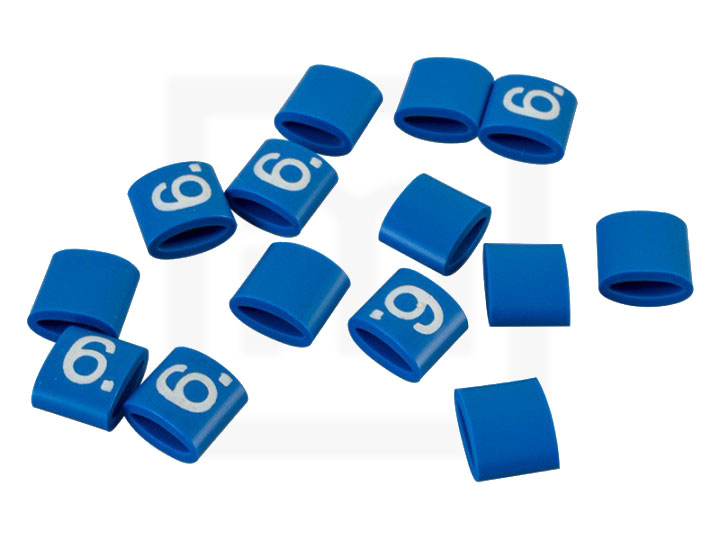 Bezeichnungsringe, 4,2 - 6,6 mm blau, 100 Stück