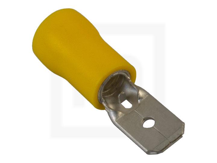 Flachstecker isoliert,  2,5 - 6,0 mm² 6,3 mm gelb, 100 Stück