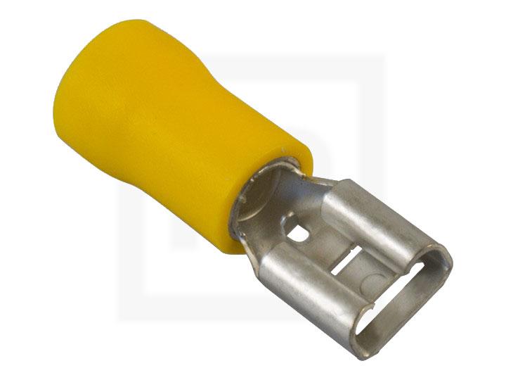 Flachsteckhülsen isoliert, 2,5 - 6,0 mm² 6,3 mm gelb, 100 Stück