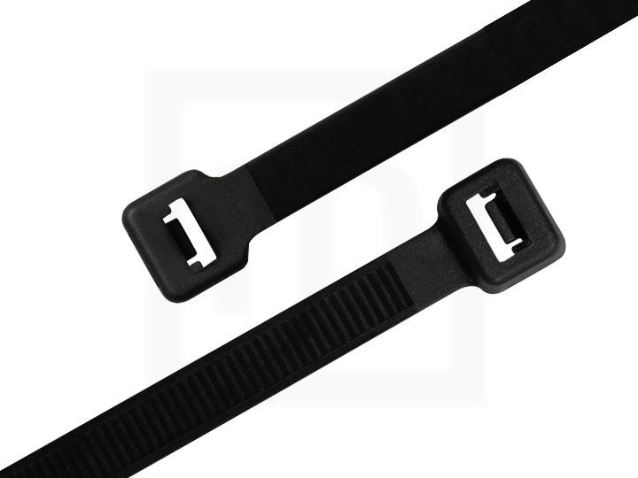 Kabelbinder außenverzahnt, 4,8 x 200 mm schwarz, 100 Stück