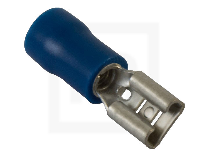 Flachsteckhülsen isoliert, 1,5 - 2,5 mm² 6,3 mm blau, 100 Stück