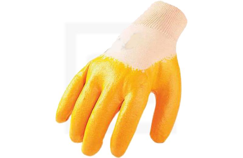 Baumwollhandschuhe mit Nitrilbeschichtung - gelb, Gr. 7
