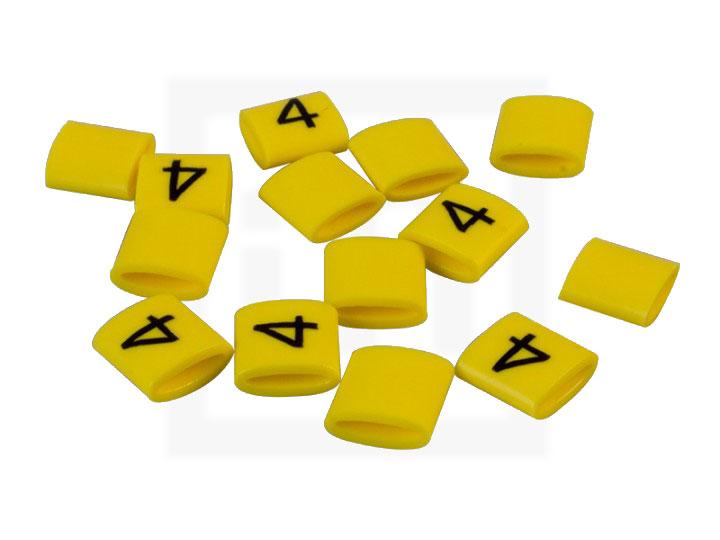 Bezeichnungsringe, 4,2 - 6,6 mm gelb, 100 Stück