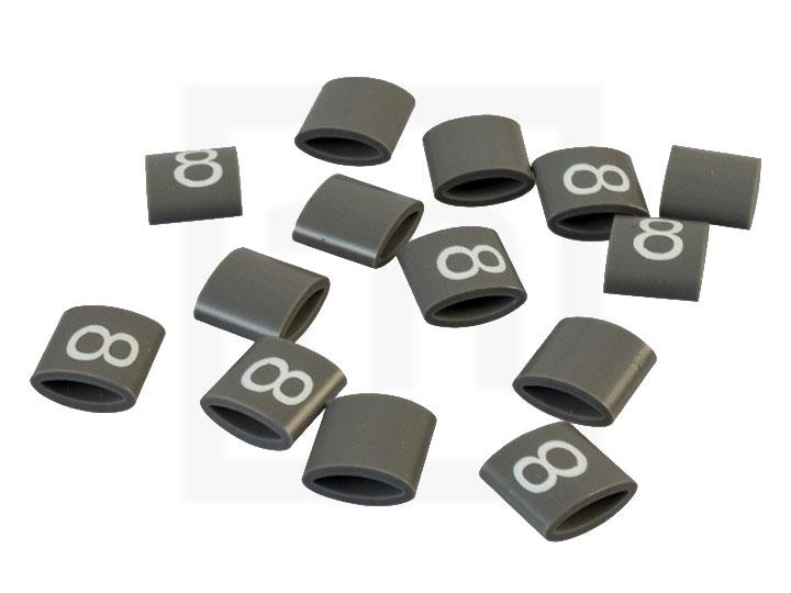 Bezeichnungsringe, 4,2 - 6,6 mm grau, 100 Stück