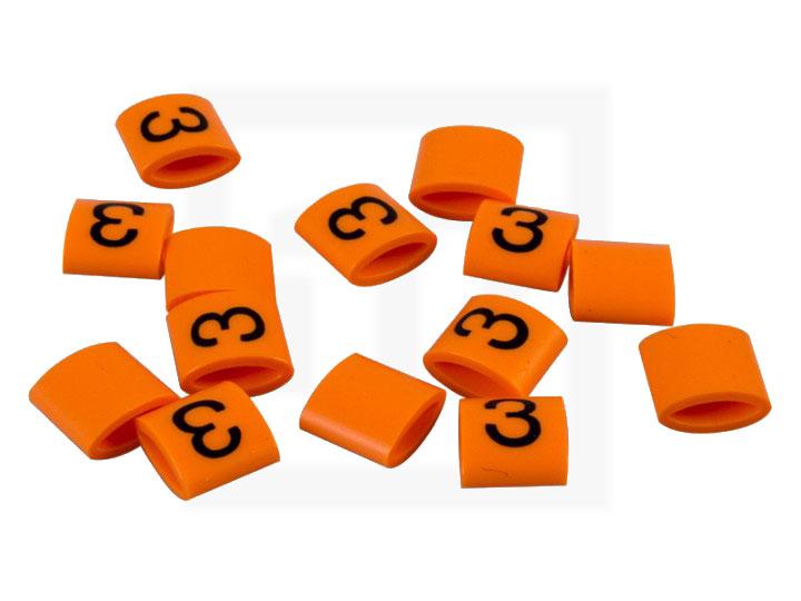 Bezeichnungsringe, 2,3 - 3,4 mm orange, 100 Stück